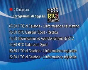 IN TV SU RTC – Mercoledì 2 Dicembre