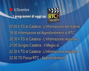 IN TV SU RTC – Venerdì 4 Dicembre