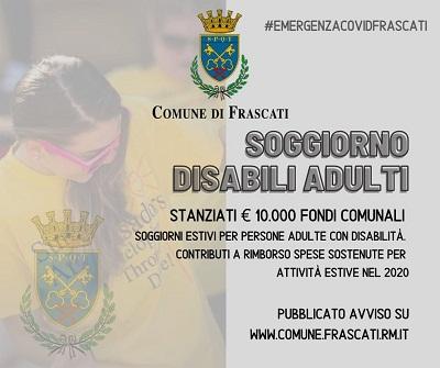 Frascati, contributi economici straordinari per famiglie con adulti disabili per i soggiorni estivi 2020