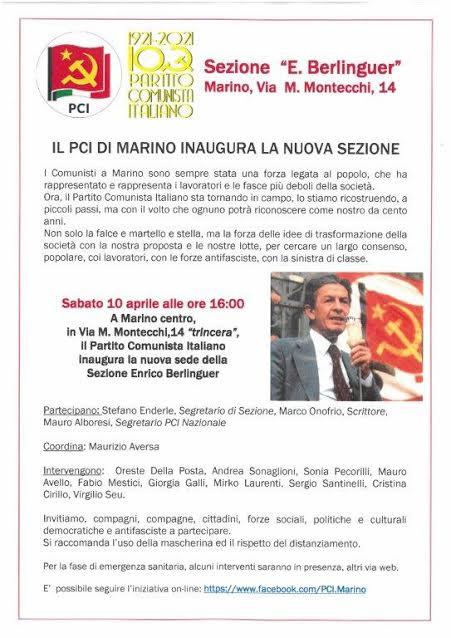 Marino, il 10 aprile inaugura la sezione del PCI locale al centro storico