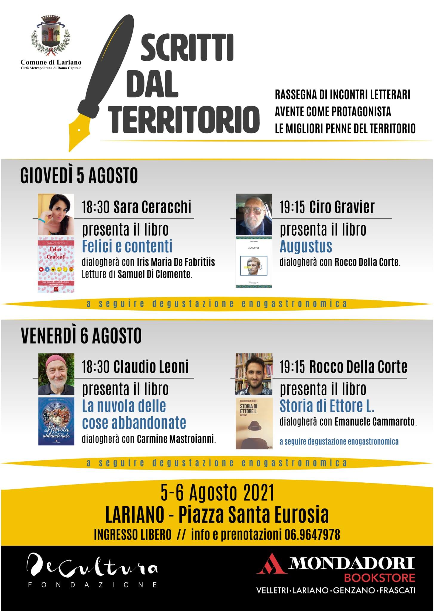 """Lariano, """"Scritti dal territorio"""", rassegna letteraria: due giorni di eventi in Piazza Sant'Eurosia"""