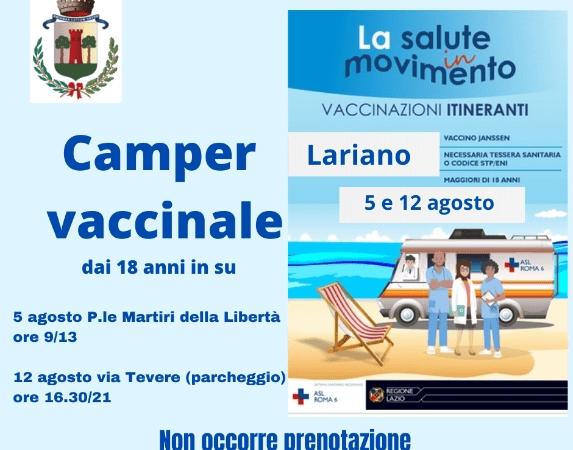Lariano, appuntamento il 5 e il 12 agosto per le vaccinazioni itineranti della Asl Roma 6