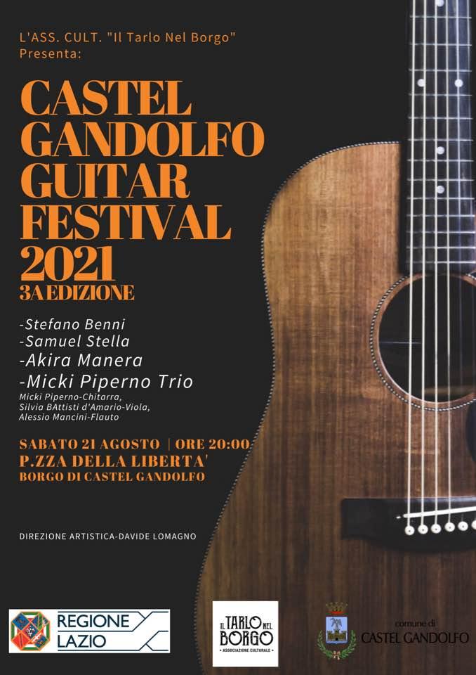 Castel Gandolfo, la 3° edizione del Guitar Festival 2021 domani, 21 Agosto