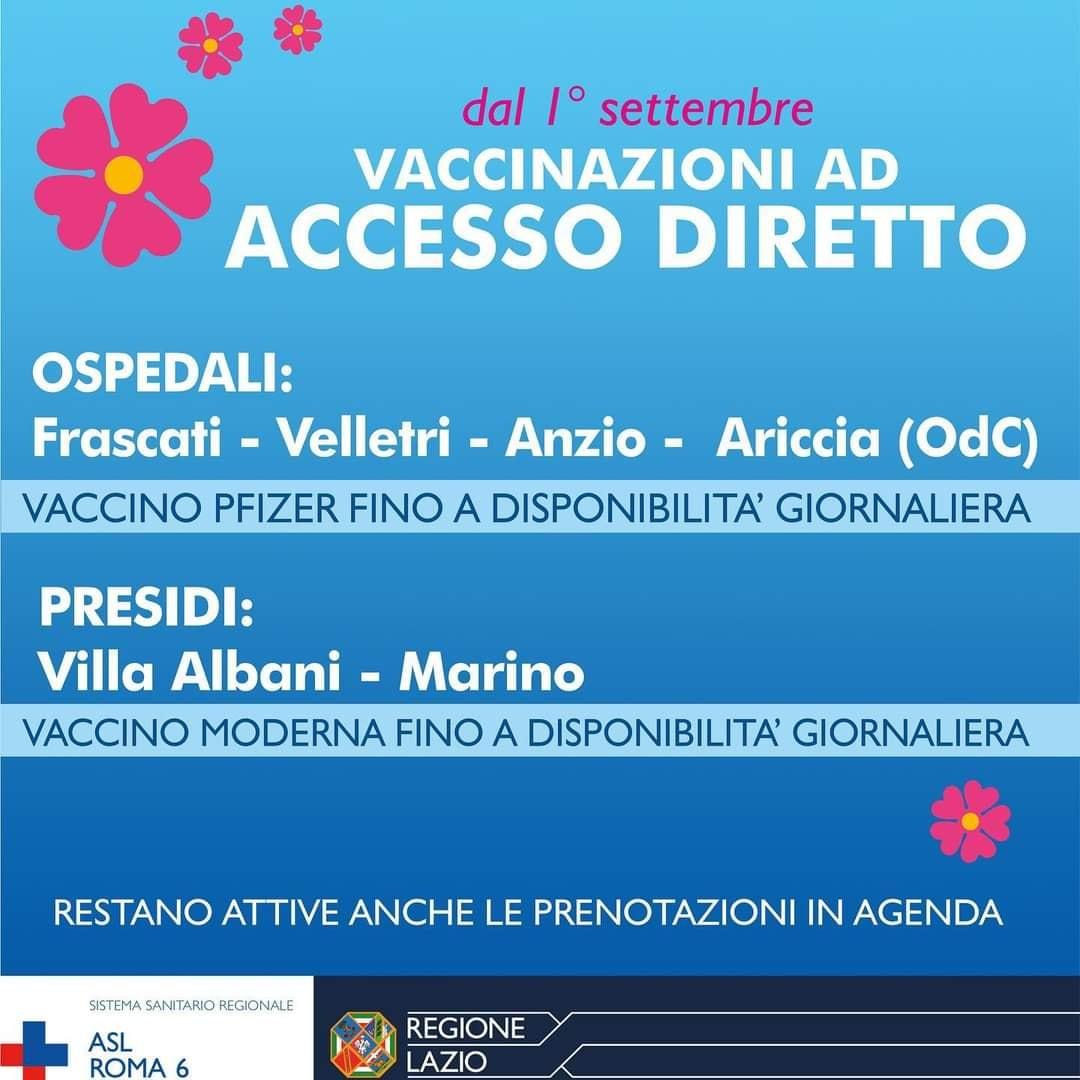 Vaccini, a partire da oggi vaccinazioni ad accesso diretto nei presidi della Asl Roma 6