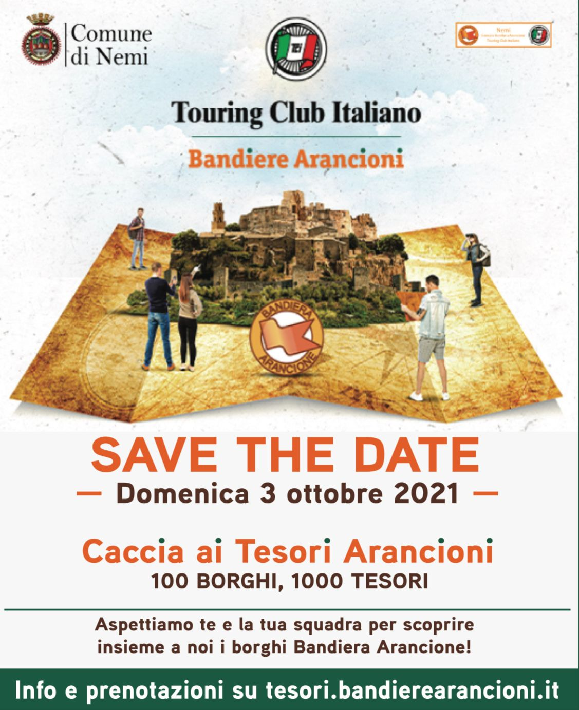 """NEMI, DOMENICA 3 OTTOBRE IL TOURING CLUB ITALIANO INVITA TUTTI ALLA """"CACCIA AI TESORI ARANCIONI"""""""
