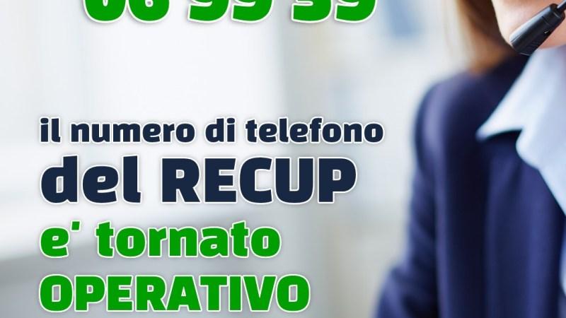Regione Lazio, torna attivo il servizio telefonico Recup, attivi anche gli sportelli CUP