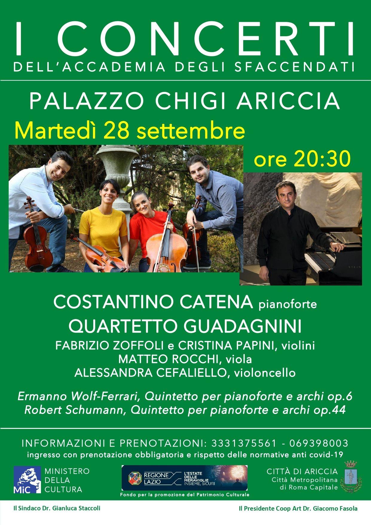 Ariccia, concerto Straordinario con Wolf-Ferrari e Schumann al Palazzo Chigi