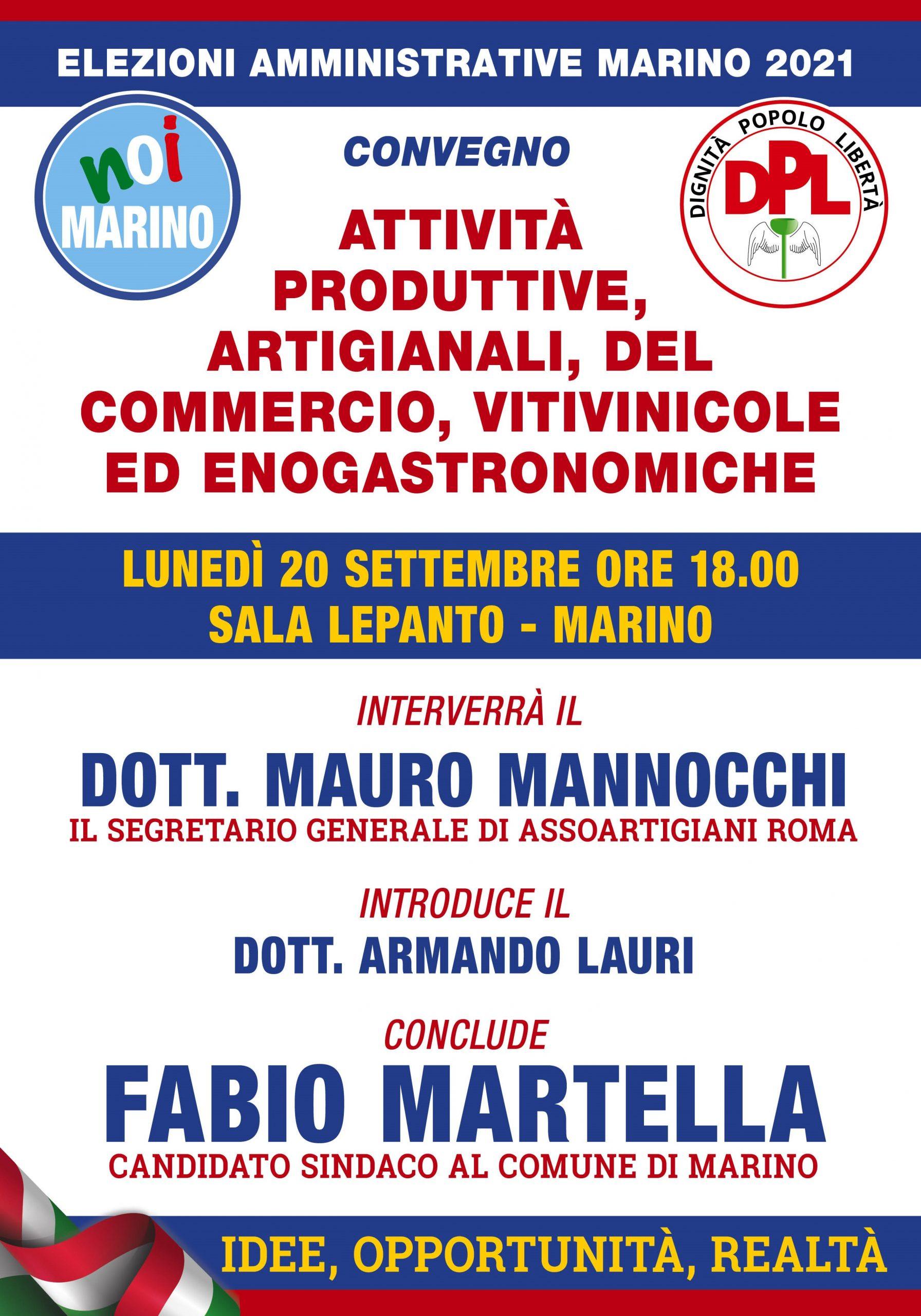 Marino, convegno sulle attività produttive, artigianali, del commercio, vitinicole ed enogastronomiche