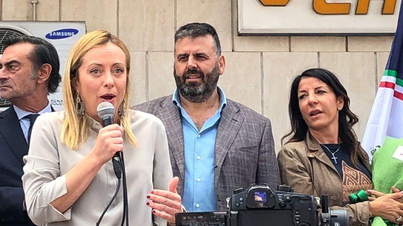 """Marino, Giorgia Meloni a Santa Maria delle Mole a sostegno di De Santis: """"nostri sindaci i migliori d'Italia"""""""