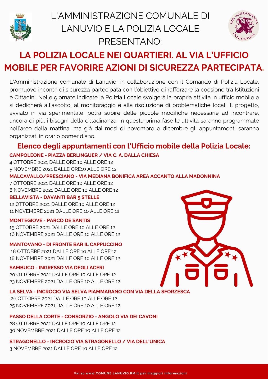 LANUVIO, LA POLIZIA LOCALE NEI QUARTIERI. AL VIA L'UFFICIO MOBILE PER FAVORIRE AZIONI DI SICUREZZA PARTECIPATA