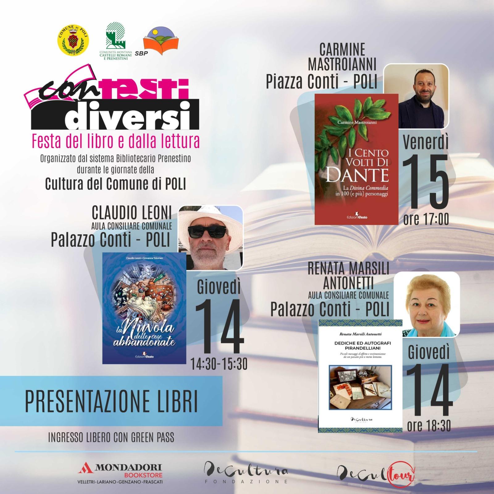 """Cultura, """"Contesti diversi. Festa del libro e della lettura"""": incontri con gli autori a Poli"""