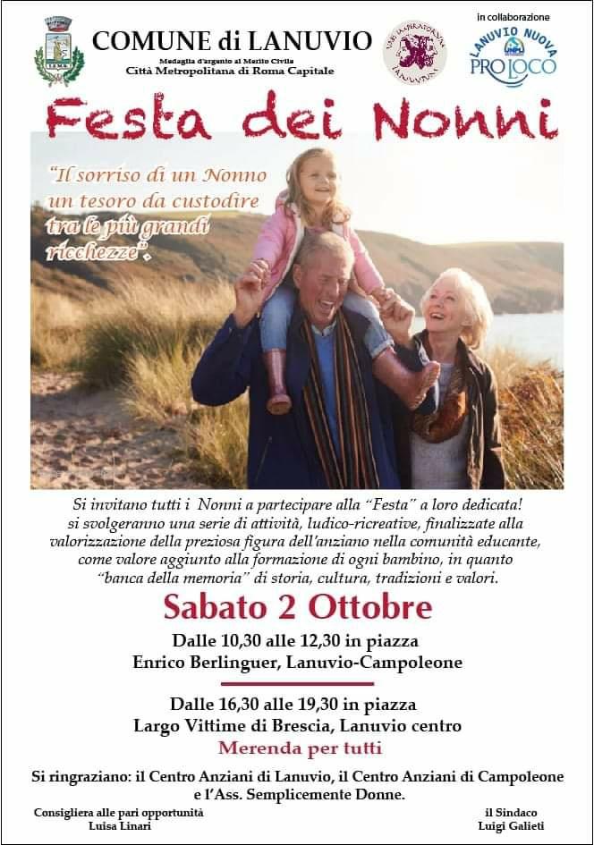 Lanuvio, 2 Ottobre festa dei nonni, due eventi per celebrarla con tutta la famiglia