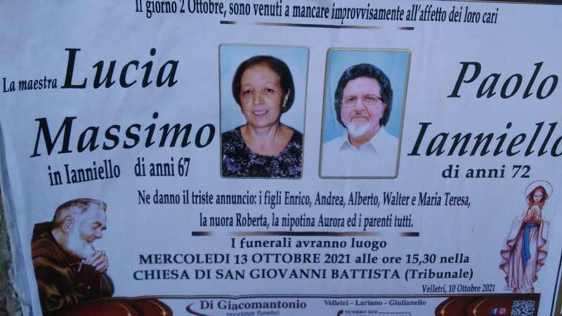 Velletri, celebrati i funerali di Lucia Massimo e Paolo Ianniello