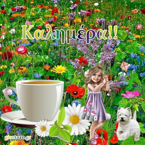 Καλημέρα Με Όμορφα Ανοιξιάτικα Τοπία καφές λουλούδια σκυλάκι