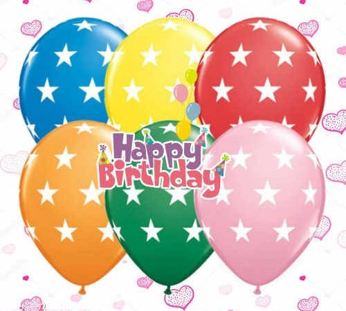 Happy birthday with colorful balloons pictures