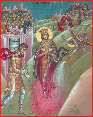 ήλθε ένας άγγελος να την κατηχήσει στην χριστιανική πίστη και της έδωσε το όνομα Ειρήνη
