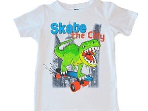 t-shirt wit met groene dino maat 128
