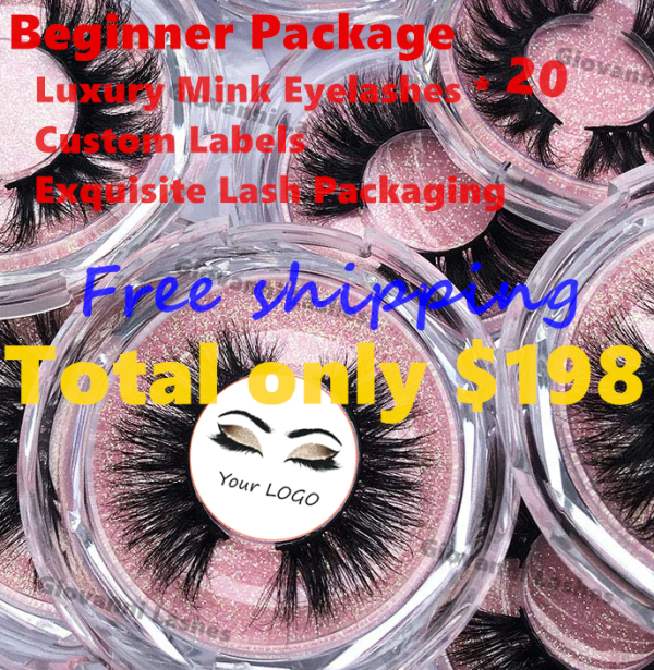 Beginner Package–Luxury Mink Eyelashes And Custom Labels And Exquisite Lash Packaging