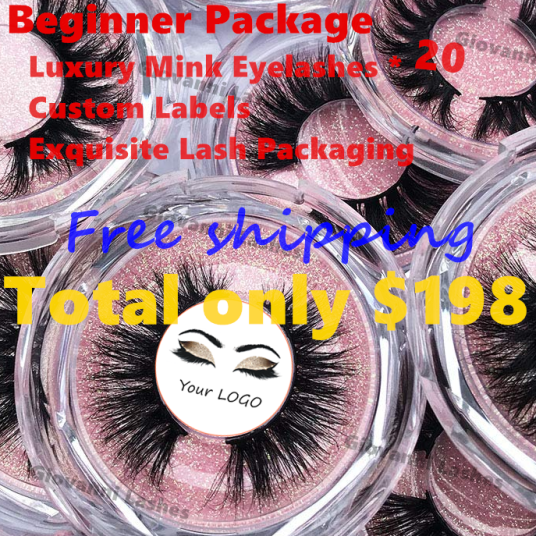 Lashes Beginner Package–Luxury Mink Eyelashes And Custom Labels And Exquisite Lash Packaging