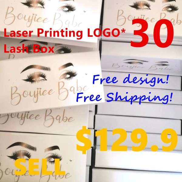 UV laser printing customized lashes packaging, only 30 MOQs