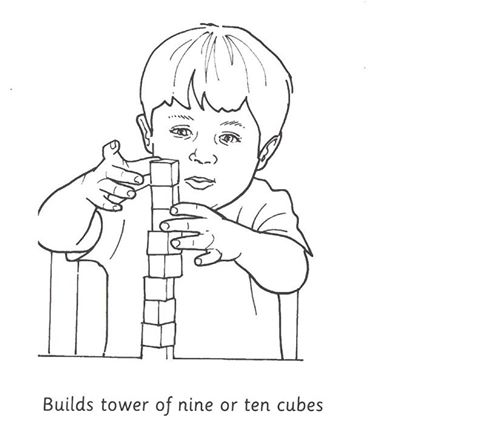 At what age child can build tower of nine or ten cubes