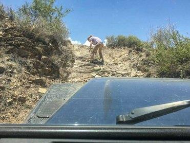 Straße bauen auf dem Isabis-Trail, Namibia