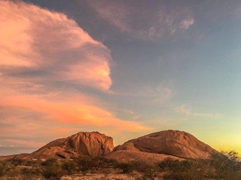 Sonnenuntergang an der Spitzkoppe, Namibia