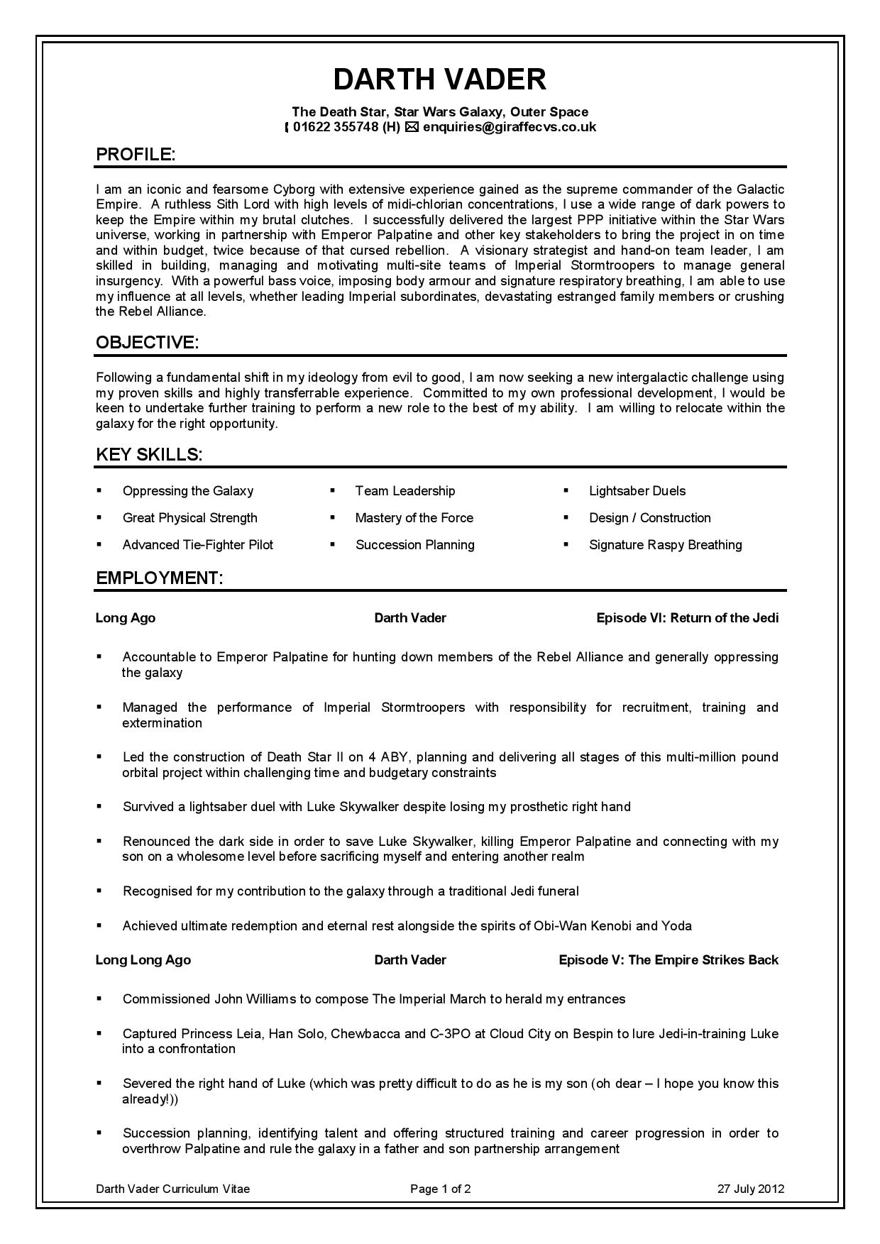 Darth Vader / Anakin Skywalker Cv Resume