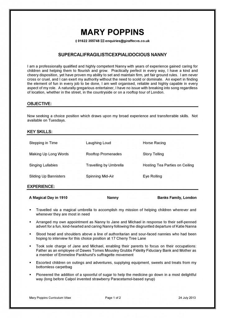 Mary Poppins CV Spoof Nanny CV Childcare CV Professional CV
