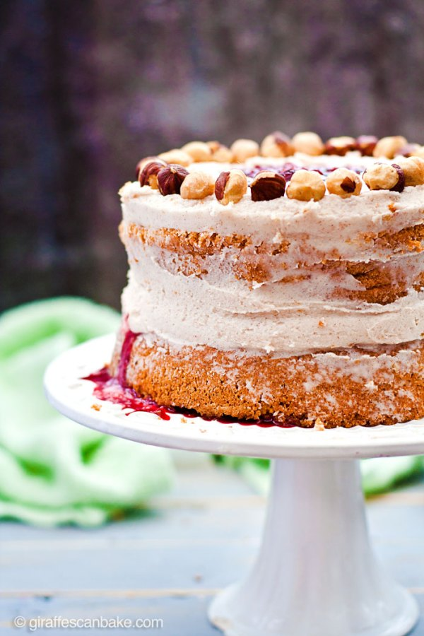 """Plum and Hazelnut Cake -A deliciously tempting mini 6"""" cake that is naturally gluten and dairy free! Moist hazelnut cake with plum filling and dairy free cinnamon frosting. It's delicious and easy to make, with no oil needed!"""