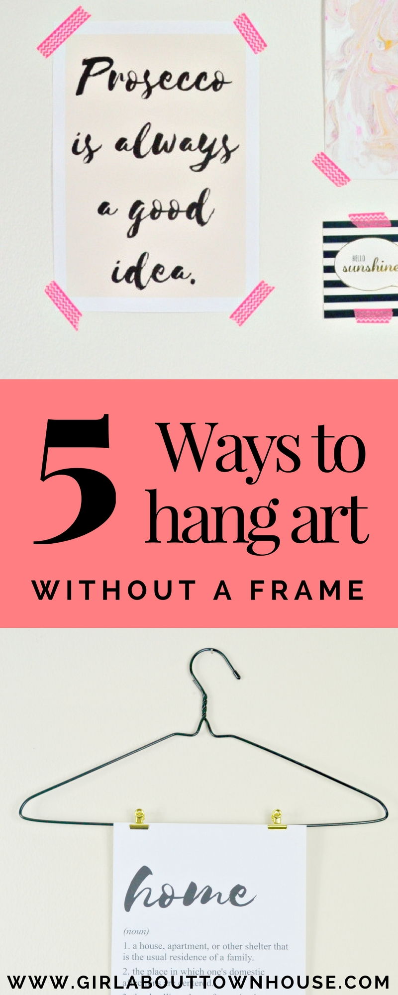 How to hang pictures without frames - Girl about townhouse