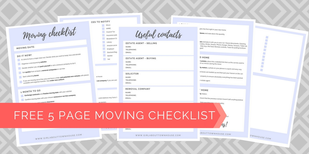 Ultimate Moving Checklist (Free Printable)   Girl About Townhouse
