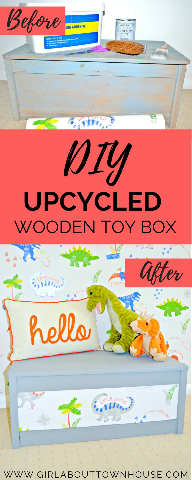 DIY painted toy box tutorial. A super easy way to upcycle an old toy box using chalk paint and wallpaper - perfect for kids rooms and playrooms.