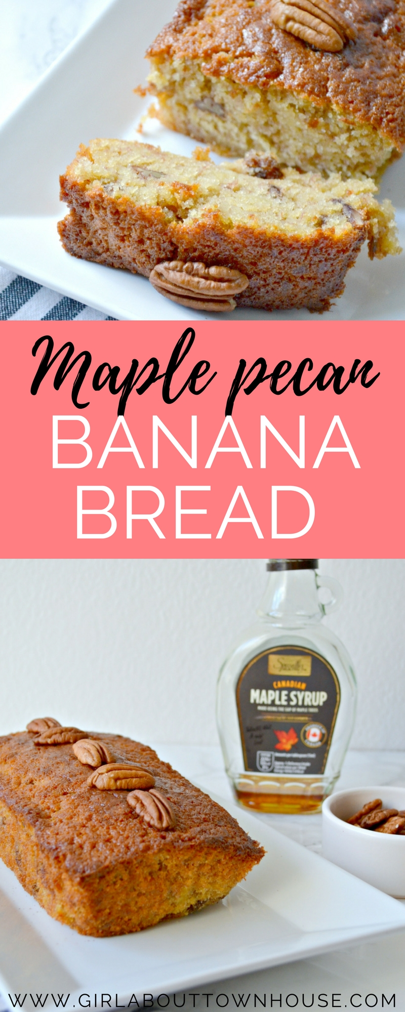 Super easy maple pecan banana bread recipe. The ideal way to use up those leftover bananas. It's also an ideal recipe for baking with kids, because it's so simple.