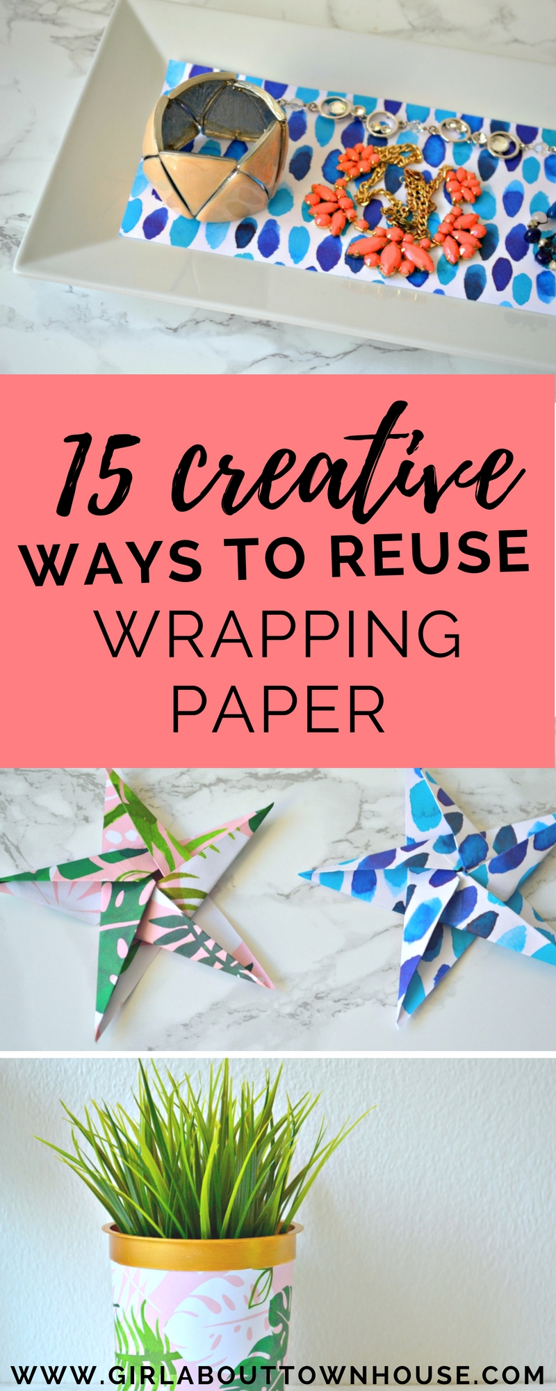 15 fun and frugal ideas for reusing wrapping paper. From craft projects to storage solutions, here's 15 good reasons why you should never throw pretty wrapping paper away. If you love upcyling, DIY ideas and saving money, this is the perfect post for you!