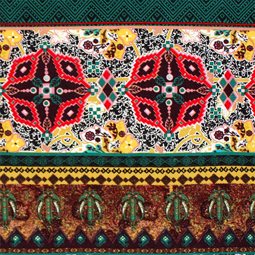 Green Gold Kaleidoscope Ethnic Cotton Spandex Blend Knit Fabric