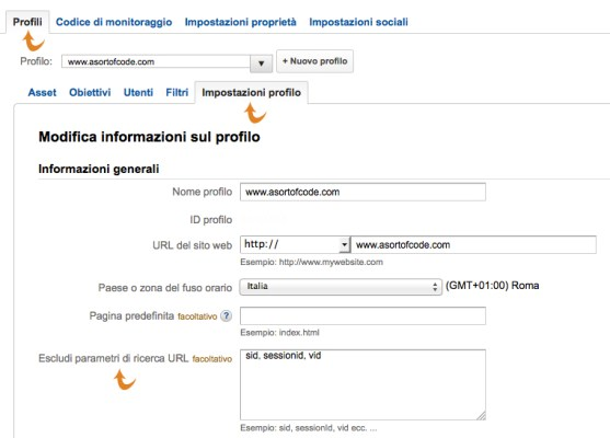 Escludi Url da Google Analytics