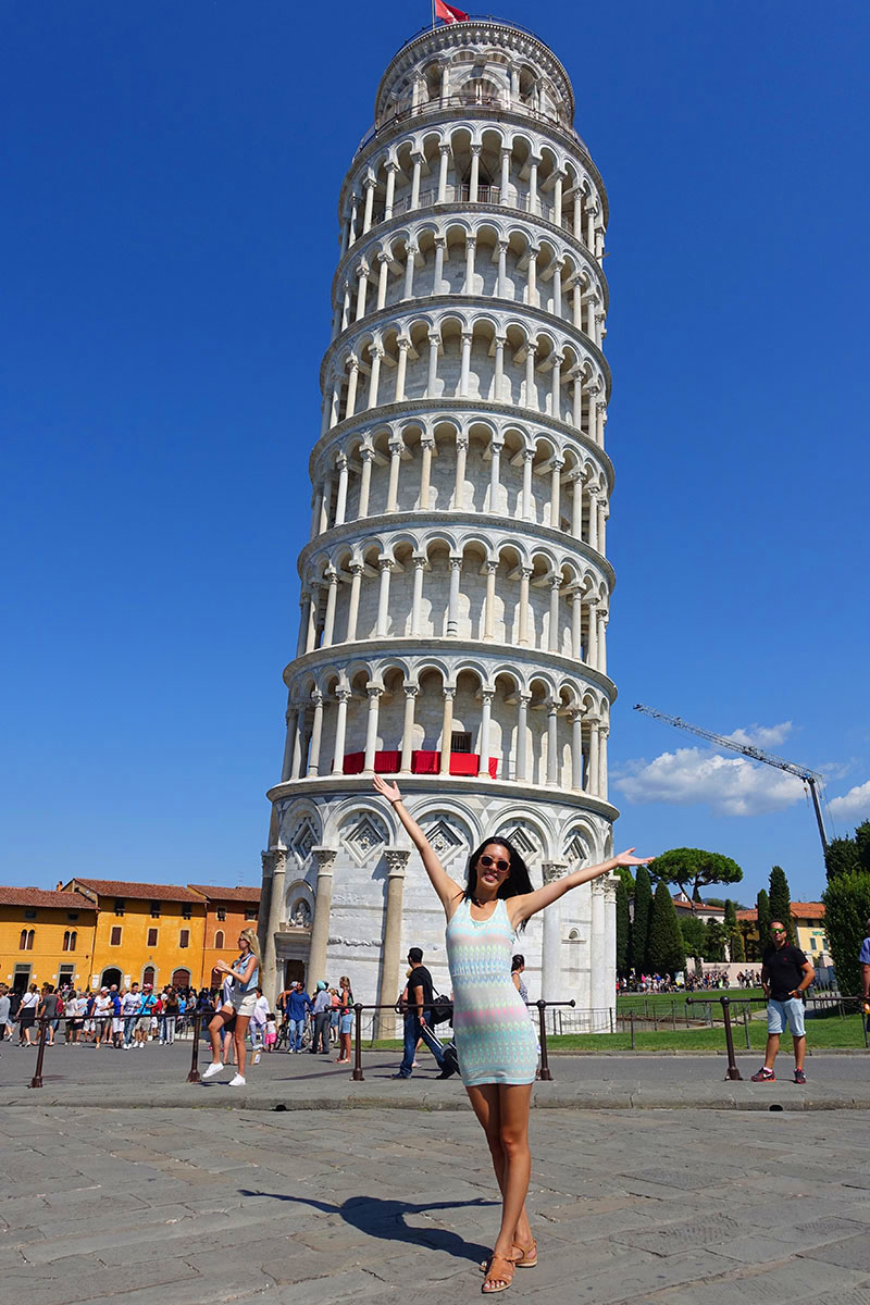 Cheesy photo with the Leaning Tower of Pisa, Italy.