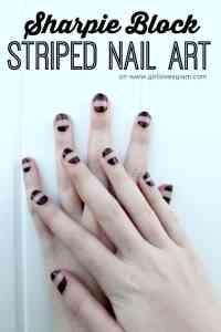 Sharpie Block Striped Nail Art - Girl Loves Glam