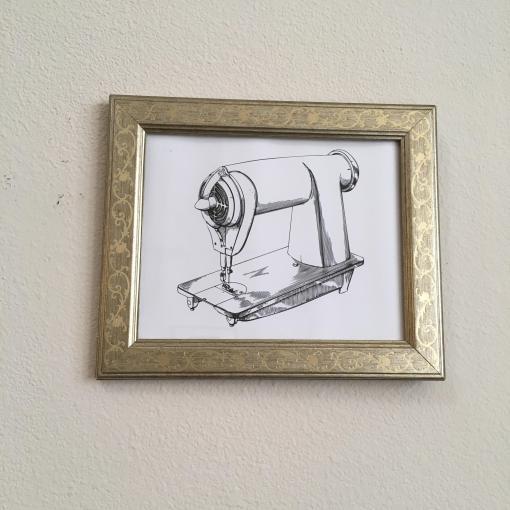 framed rocket print
