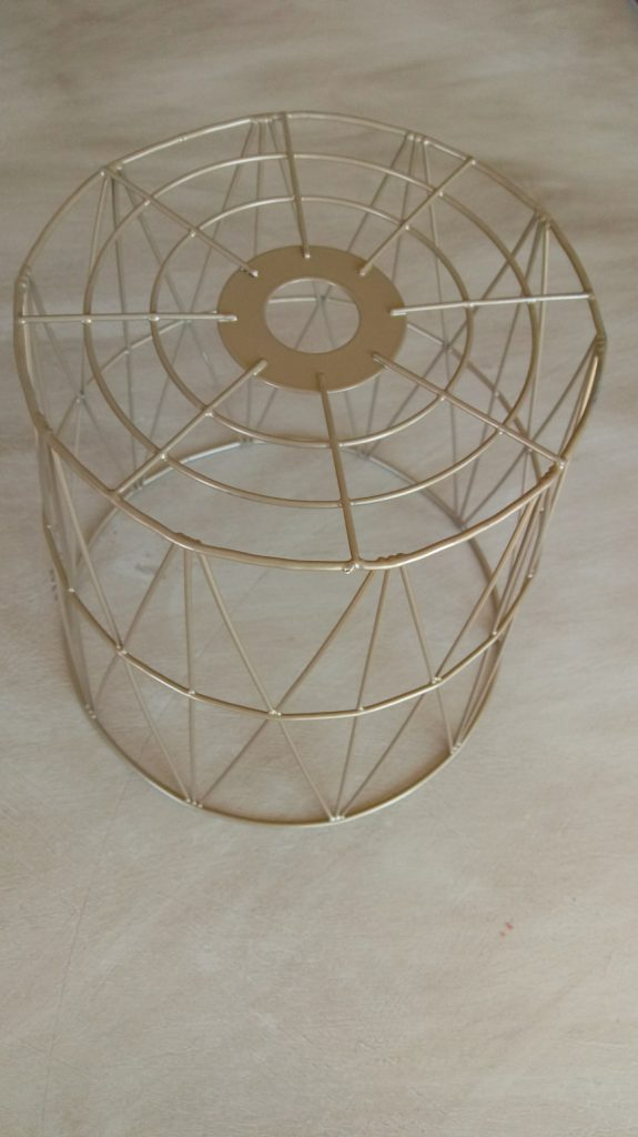 Gold waste basket/light fixture