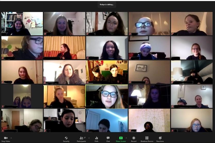 Screenshot of a Zoom class with Girls' Brigade members