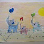 child's drawing of three elephants