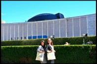 Diane and Justine outside of the United Nations Headquarters.