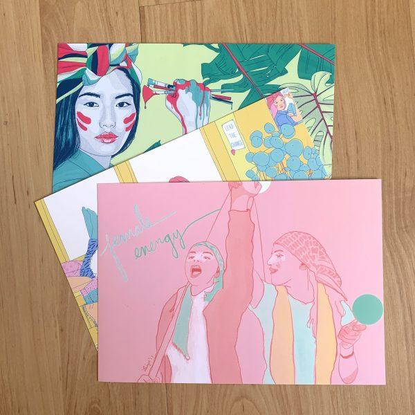 Postcards with illustrations Girls' Globe