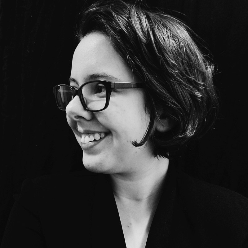 Black and white profile photo of Gabrielle Rocha RIos