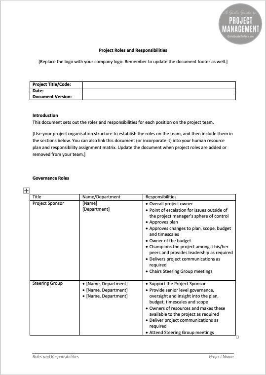 Ejemplo de la plantilla de roles y responsabilidades