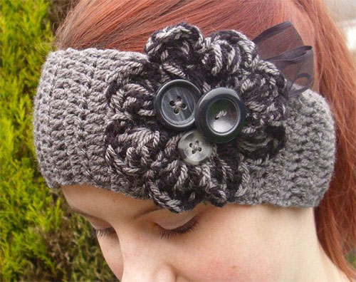 Winter Headbands With Bow Crochet  Knitting Patterns For