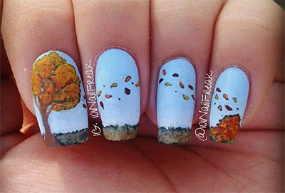 Yellow Nails With Fall Leaves Thanksgiving Nail Art