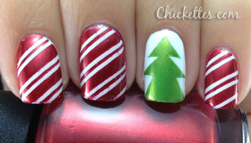 Glitter French Tip Christmas Nail Art Image Source